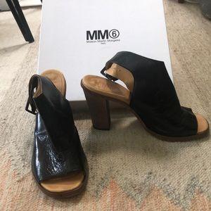 "Size 40 Black Margiela MM6 Peep Toe Heels 3"""